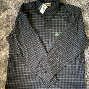 Mens LL Bean green  plaid shirt Large